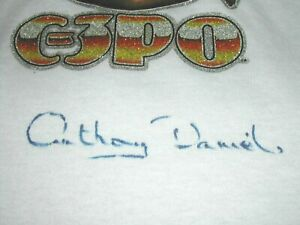 STAR WARS C3PO 70'S T-SHIRT SIGNED BY ANTHONY DANIELS - C-3PO AUTOGRAPH c3p0