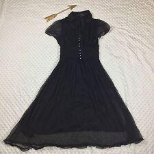 Zara Basic Retro Black Silk Crepe Polka Dot Faux Pearl Button Pin Up Dress Sz 5