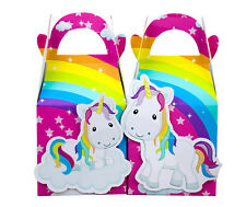RAINBOW UNICORN FAVOUR BOXES KIDS LOOT LOLLY BAGS SUPPLIES PARTY DECORATIONS