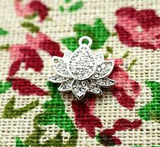 Lotus flower charm platinum rhinestones pendant jewellery supplies C1336