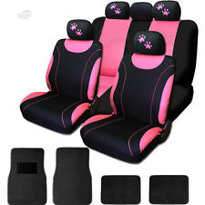 New Sleek Flat Cloth Black and Pink Seat Covers Mats With Paws Set For Chevrolet