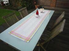 Tischläufer Jacquard Leinen 50x170 cm hellgrau rosa mit Ornamenten