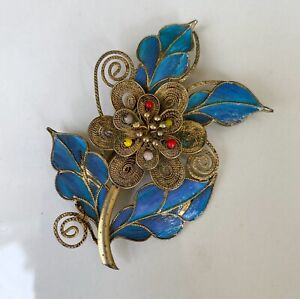 Antique Chinese Kingfisher Feather Brooch Pin Gilt Filigree Glass Beads Flower