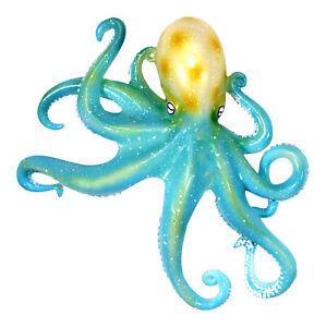 Coastal Sea Creature Teal Octopus 9 Inch Wall Decor Resin Plaque