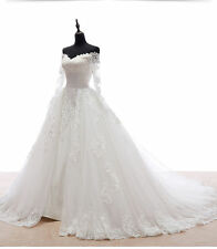 2016 White/Ivory Long Sleeve Wedding Dress Bridal Ball Gown Custom Made Size++++