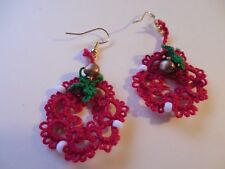 2 Sets Tatted Wreath Red Earrings Beads & Bells Christmas Dove Country Tatting