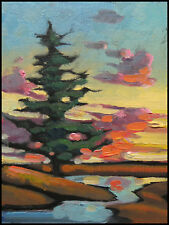 Wm HAWKINS  Sunset  Abstract  Rose  Clouds Impressionist Oil Painting Canvas Art