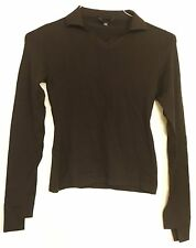 Helmut Lang Vintage Archival Fine Knit Brown Cut Out Sleeve Collared Sweater 40