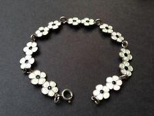 Vintage Meka Denmark Sterling Silver and White Enamel Floral Bracelet