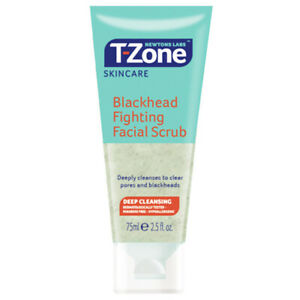T-ZONE BLACKHEAD FIGHTING FACIAL SCRUB TEA TREE SPOTS DEEP PORE CLEANSING 75ml