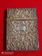 Ancienne boite de carte de visite en argent massif magnifique décor 85 gr