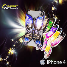 Luxury 3D Art Design Fancy Deluxe Butterfly Case Cover +SP for iPhone 4 4G 4S