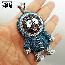 ICED OUT HIP HOP WHITE GOLD PLATED LAB DIAMONDS LARGE BRICK SQUAD ESKIMO PENDANT