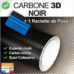 Film vinyle Carbone 3D noir thermoformable adhésif 152 cm x 40 cm + Raclette