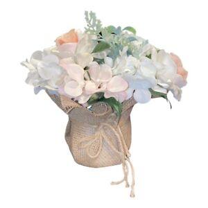 New Artificial Flowers Arranements White Hydrangea Pink  Bouquets Burlap Center