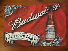 Budweiser USA lager beer VIC Man cave flag wall hanging banner signage shed