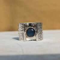 Labradorite Ring Solid 925 Sterling Silver Wide Band Ring Handmade Jewelry A232