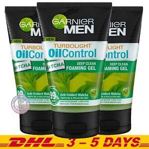 Pack 3 : Garnier Men Turbo Light Oil Control Matcha Deep Clean Foaming Gel 100ml