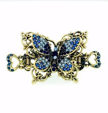 VINTAGE BUTTERFLY HAIR CLAW CLIP HAIRPIN USE SWAROVSKI CRYSTAL ELEGANT GOLD BLUE