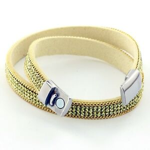 Womens Yellow and Gold Leather Beaded Bracelet.Girls Bracelet.Bracelet for Girls