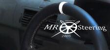 FITS MAZDA 2 2002-2007 BLACK GENUINE LEATHER STEERING WHEEL COVER + WHITE STRAP