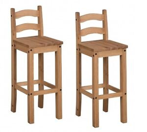 Corona Pair of Bar Stools Tall Chairs Mexican Solid Pine Mercers Furniture®