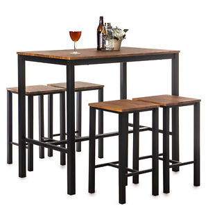 Home Treats Bar Table and 4 Metal And Wood Stools, Walnut Brown and Black