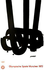 """1972 Munich Olympic Poster ORIGINAL  25""""x 40"""" Artist: Pierre Soulages  Edition 2"""