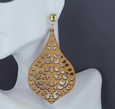 """Lt Brown teardrop earrings big post dangle cutout wood scroll oval 3 5/8"""" wooden"""