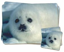 Snow White Sea Lion Twin 2x Placemats+2x Coasters Set in Gift Box, AF-S13PC