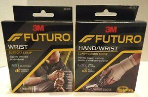 3M Futuro Wrist Support Strap & Hand/Wrist Compression Glove L/XL Adj NIB