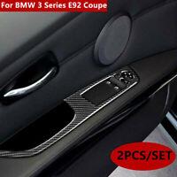 2PCS Carbon Fiber Door Window Lift Switch Cover Trim For BMW 3 Series E92 Coupe