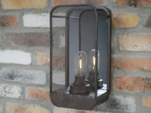 Industrial Wall Light With Mirror Metal Glass Battery Operate Lamp Home Decor