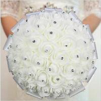 Rose Foam Flower Brides Wedding Bridal Bouquet White Satin Crystal Wedding