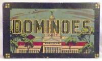 Vintage Dominoes Game 56 Pieces Double Nine US Capitol Wood Tiles Orig Box