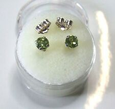 4 mm  Green Peridot Gemstone studs in Sterling Silver