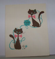 Vintage Greeting Card Rare 1958 Two Cats Playing With Yarn Kitty Kitties Cute