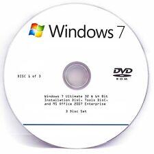 Windows 7 Ultimate, MS Office 2007 Enterprise, Boot Repair CD (3 Disk Set)