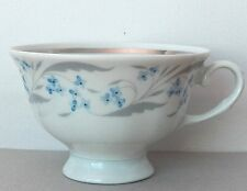 A FAVOLINA FOOTED CUP MADE IN POLAND PATTERN HARMONY BLUE FLORAL, PLATINUM TRIM