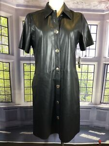 Bar Iii 8 NWT Faux-Leather Shirtdress Madrid Black Knee Length Button Up SS