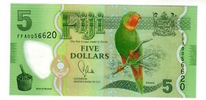 FIJI FIDJI Billet 5 Dollars 2013 P115 POLYMER PERROQUET UNC NEUF
