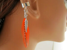 Handmade Bohemian Ear Wrap Orange and Grizzly Feathers Cartilage Earring