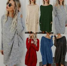 UK Womens Oversized Knitted Long Sweater Dress Jumper Ladies Winter Top Pullover