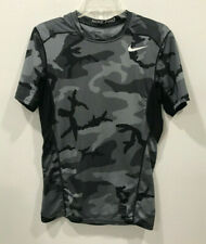 Nike Pro Men's Dri Fit Fitted Short Sleeved Shirt Top Size Small Gray Camo