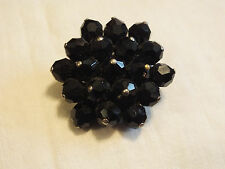 Beautiful Brooch Pin Gold Tone Base Faceted Black Beads 1 3/4 Inch NICE