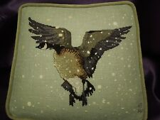 Signed Cross-Stitch Cross Stitch Accent Pillow Canada Goose Flying in Snow - VTG