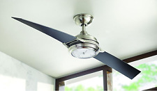 "Nickel Clock Light 56"" Large LED Ceiling Fan + Remote Unique 2-Blade Airplane"