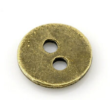"""25 Antique Bronze Metal Button - 2 Holes - 11mm (3/8"""") - Sewing Metal Buttons"""