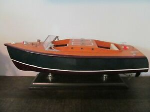 """Vintage Chris Craft Style Wood Model 14"""" Classic Speed Boat on Stand"""