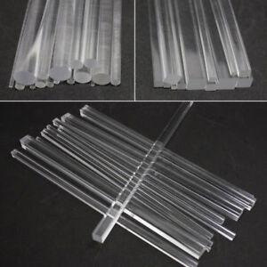Clear Acrylic Perspex Round Rod Circular Bar Square Rod Bar 100/200/300mm Length